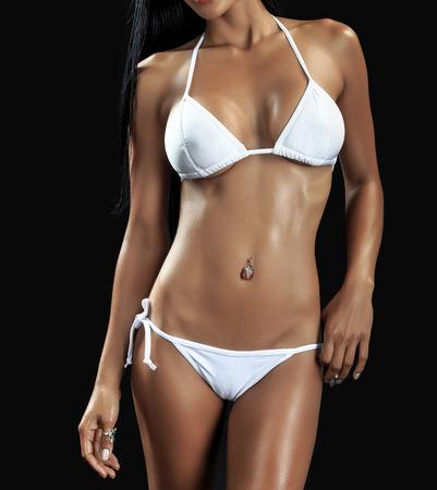 big boobs: Hermosa mujer atractiva joven llevaba ropa interior elegante en el fondo blanco Foto de archivo