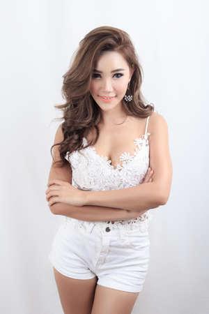 breast beauty: Asian beauty, portrait on white background
