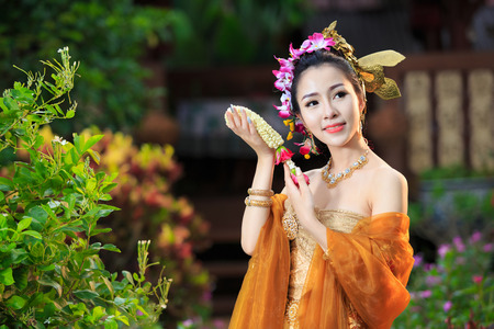 thailand art: Thai Woman In Traditional Costume Of Thailand Stock Photo