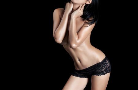 nude black woman: Sexy woman body - studio shot Stock Photo
