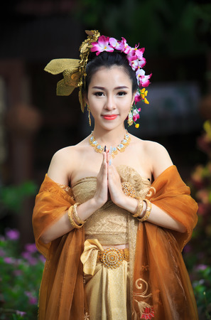 thai girl: Thai Woman In Traditional Costume Of Thailand Stock Photo