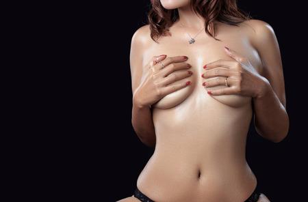 sexy boobs: Sexy woman body - studio shot Stock Photo