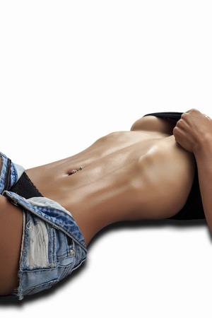 sexy nude women: Beautiful female fitness model - studio shot