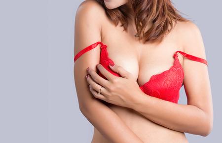 big boobs: Young beautiful sexy Asian woman wearing elegant lingerie - studio shot