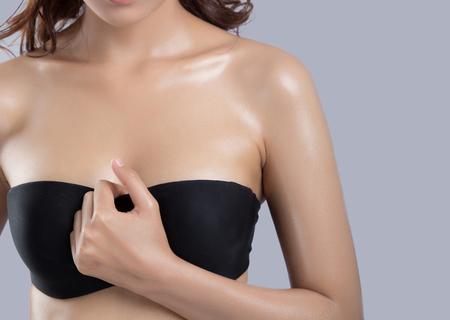 sexy boobs: Beautiful body of woman in studio