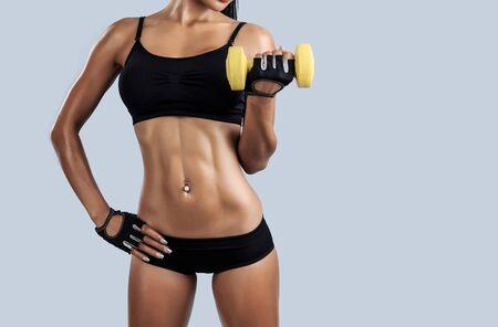 nude female body model: Beautiful female fitness model - studio shot