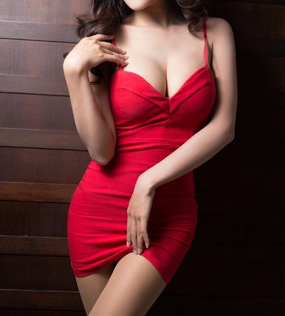 Mooie slanke lichaam van Aziatische vrouw Stockfoto