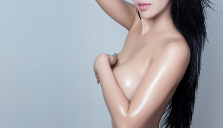 nude breasts: Sexy woman body - studio shot Stock Photo