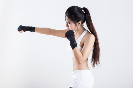 girl punch: Boxing Woman - on white background Stock Photo