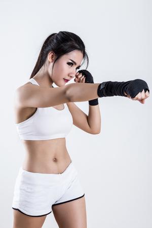 thai girl: Boxing Woman - on white background Stock Photo