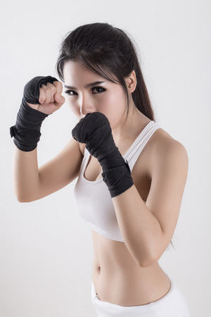 asian adults: Boxing Woman - on white background Stock Photo