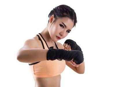 Boxing Woman - on white background Stock Photo