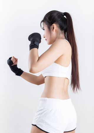 sexy young woman: Boxing Woman - on white background Stock Photo