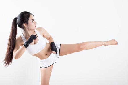 thai kick boxing: Boxing Woman - on white background Stock Photo