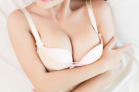 breasts erotic: Beautiful slim body of woman Stock Photo