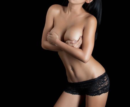 breasts erotic: Sexy woman body - studio shot Stock Photo