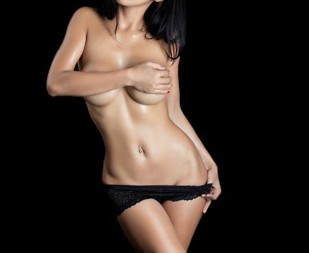 nude stomach: Sexy woman body - studio shot Stock Photo