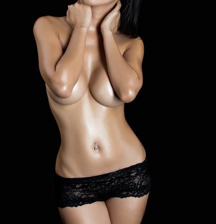 adult breast: Sexy woman body - studio shot Stock Photo