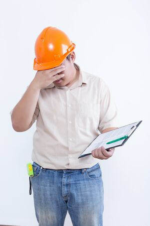 foreman: Young foreman wear hard hat isolated on white background