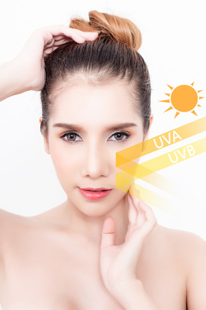 Beautiful woman with clean skin - concept of Asian beauty and Sun block skin
