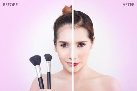Belle jeune femme avant et après le maquillage - Concept de beauté asiatique