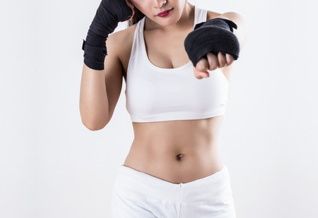 strong women: Boxing Woman - on white background Stock Photo