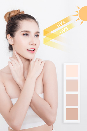 sunburnt: Beautiful woman with clean skin - concept of Asian beauty and Sun block skin