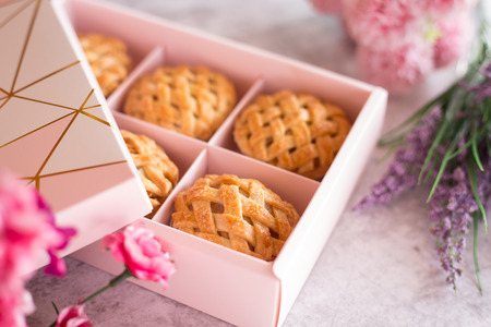 Pies on Pink Gift box. for Valentines, New years or special day concept
