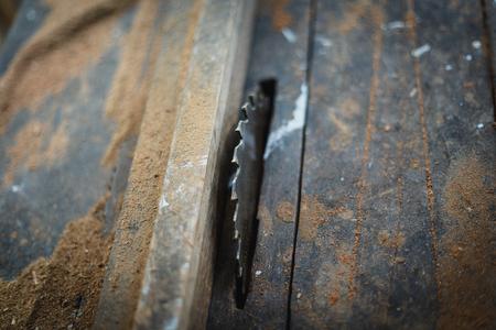 Close up vintage table saw - Circular saw
