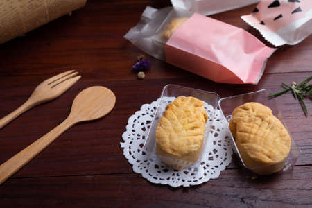 Pineapple Cookies on wooden table. Homemade Bakery concept.