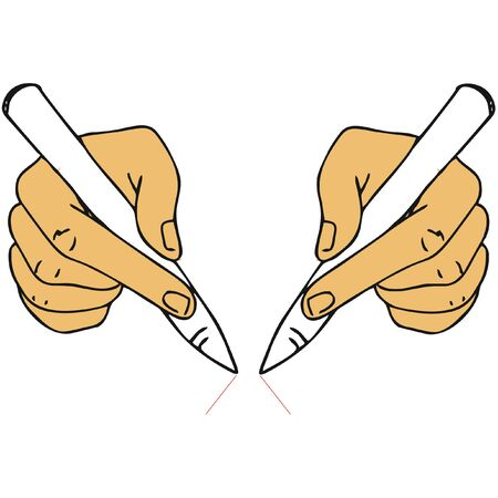 Someone draws with his right and left hand at the same time. This is flat style.