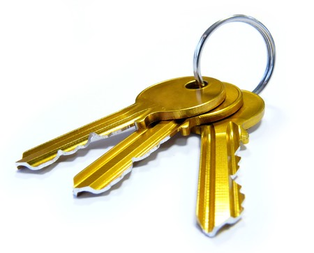 keyring: 3 Golden keys on keyring Stock Photo