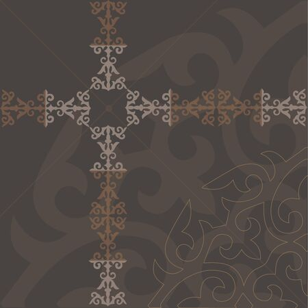 Kazakh Ornament Brown, Vector illustration. Çizim