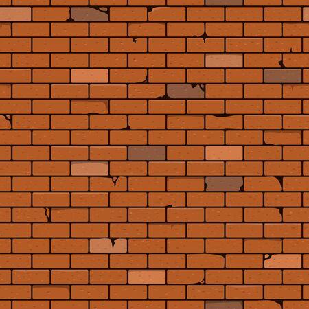 Brick Wall Seamless Pattern Background. Vector Illustration.