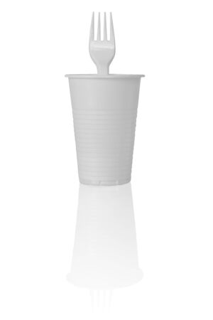 Plastic Cup with Fork in It. Isolated on White Background. 스톡 콘텐츠