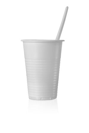 Plastic Cup with Spoon in It. Isolated on White Background.