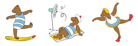 Bears in swimsuit in various poses. Flat icons stickers set. Summer time theme. Vector illustration.