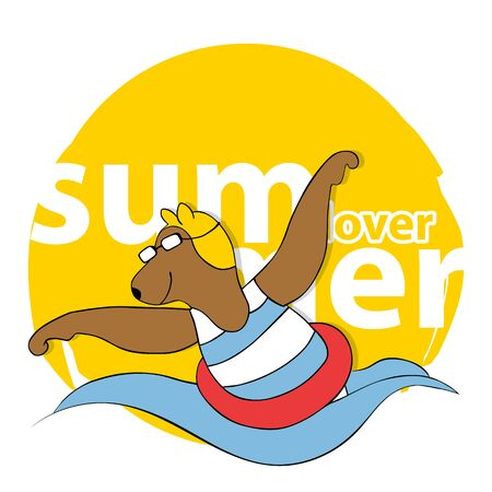 Cute Cartoon Bear in Swimsuit. Summer Time Theme. Vector Illustration.