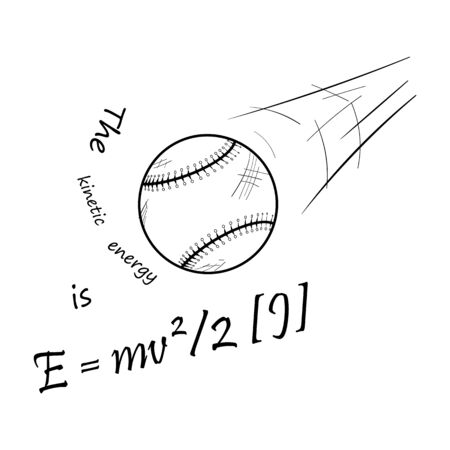Kinetic energy of a moving baseball ball. Black and white icon. Vector illustration. Illustration