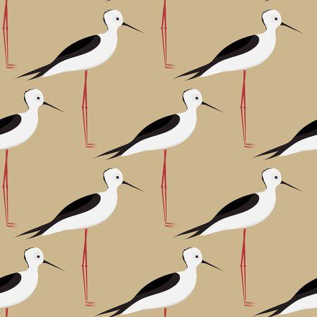 Bird. Little heron. Seamless background. Vector Illustration.  イラスト・ベクター素材
