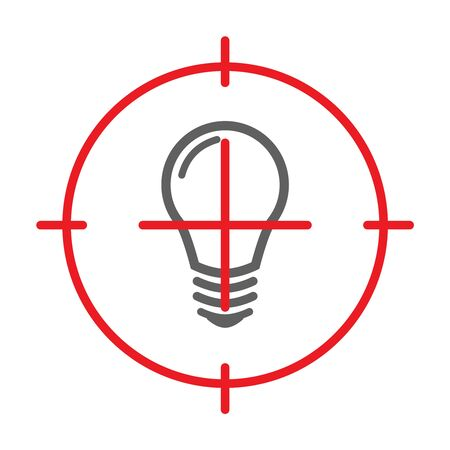 Blackout and No Electricity Symbol with Lamp Flat Icon and Target. Vector Illustration. Ilustracje wektorowe
