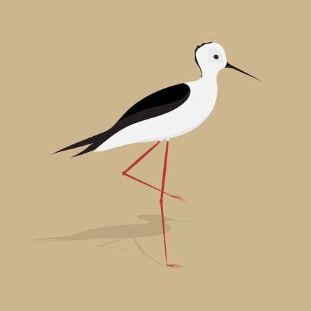 Bird. Little heron. Flat design. Vector Illustration.
