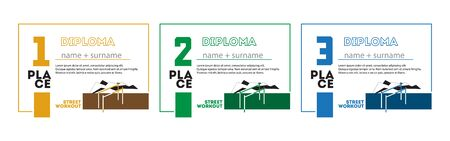 Template Design of Certificate and Diploma for Sport Workout for First, Second and Third Place. Vector Illustration.