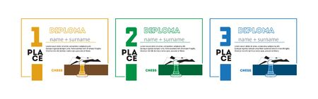Template Design of Certificate and Diploma for Sport Chess for First, Second and Third Place. Vector Illustration. Vectores