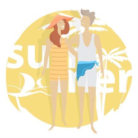 Couple in Love in Summer Time. Vector Illustration.  イラスト・ベクター素材