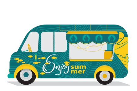 Ice Cream Cart with Fishes, Ice Cream Logo and Text - Enjoy Summer. Flat Design. For Summer Time Sale Flyer, Card, Sticker, Poster and Other. Vector Illustration.