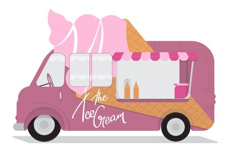 Ice Cream Cart with Lettering - The Ice Cream. Flat Design. For Summer Time Sale Flyer, Card, Sticker, Poster and Other. Vector Illustration.