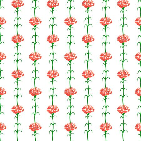 Carnation Seamless Pattern Background, Isolated on White Background. Vector Illustration. Фото со стока - 150461150