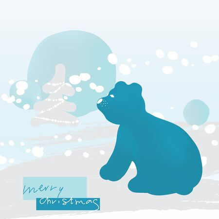 Christmas Greeting Card in Modern Minimalist Style with Cute Polar Bear, Winter Landscape, Christmas Tree, Snow Drifts and Snowfall. Vector illustration.