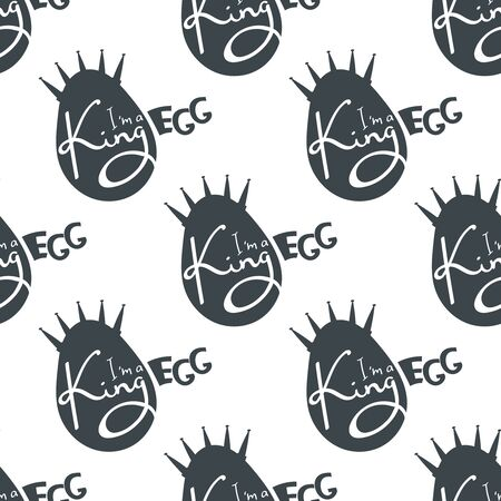 Easter Holiday black and white holiday seamless background. Vector Illustration.
